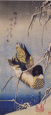 Hiroshige, Roseto sotto la neve e anatra selvatica
